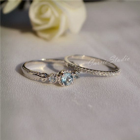 Delicate Natural Aquamarine Ring Set Aquamarine Engagement Ring Set Wedding Ring Set Anniversary Ring Set Promise Ring Gift