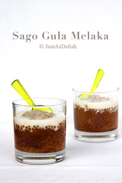 Sago Gula Melaka (Sago Pudding with Palm Sugar)