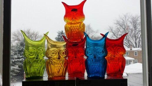 Rainbow/Viking glass owl vases