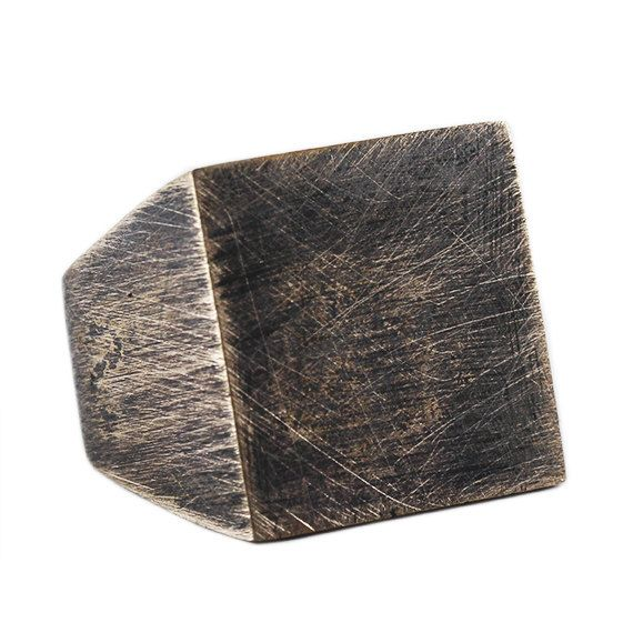 Rustic Custom Ring Brushed Square Oxidized by carpediemjewellery