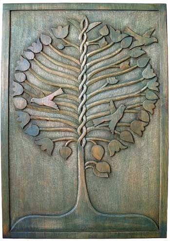 arbre de vie bleu sculpté en bas relief