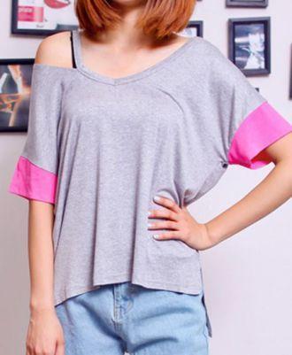 DIY INSPIRATIONAL IMAGE: Grey Pink Batwing Cut Out Shoulder Short Sleeve T-Shirt