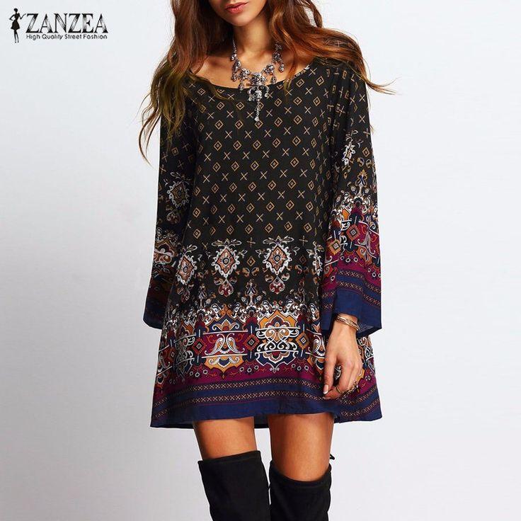 ZANZEA 2017 Ladies Women Sexy Mini Dress Round Collar Long Sleeve Vintage Floral Print Casual Straight Ethnic Short Veatidos