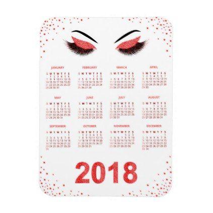 Women with glittery makeup 2018 calendar magnet