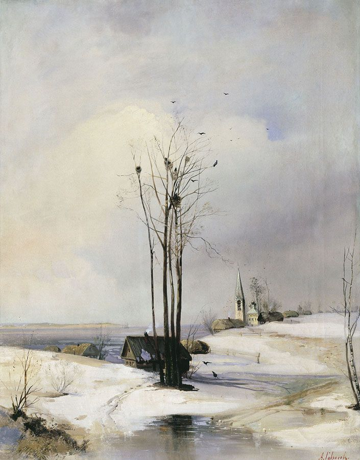 Alexey Savrasov(Russian, 1830-1897)    Early Spring. Thaw.   1885    Oil on canvas