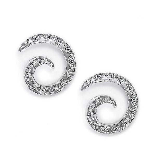Tacori Crescent Silhouette 18kt White Gold Swirl Diamond Earrings... (9 825 PLN) ❤ liked on Polyvore featuring jewelry, earrings, tacori jewelry, tacori earrings, white gold diamond earrings, earring jewelry and diamond jewelry