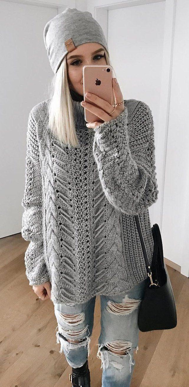 #preppy #fashion /  Grey Beanie // Grey Oversized Knit // Ripped Denim
