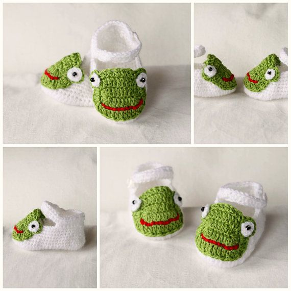 Instant download - Baby Girl Slippers Booties Crochet with Frog PATTERN 0-18 months in PDF