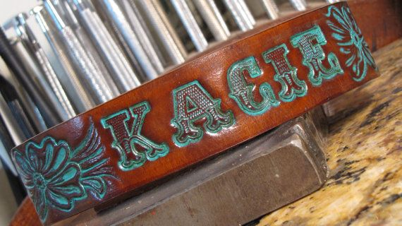 Turquoise Shabby Dog Collar USA Tooled Leather by OutlawLeatherUSA
