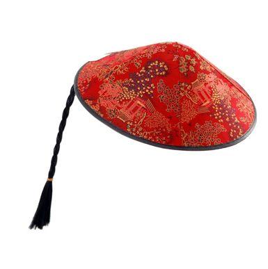 Sombrero chino negro con amarillo con trenza