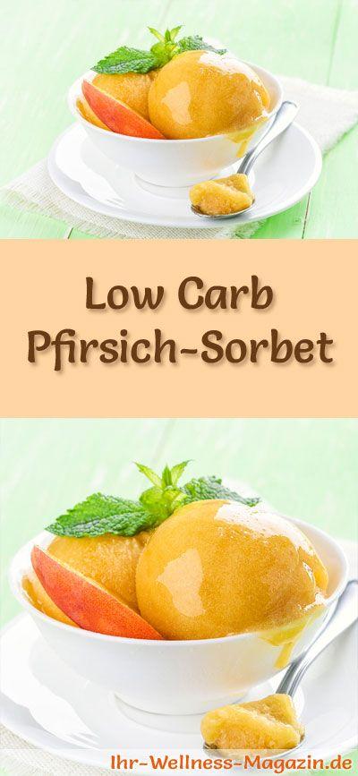 Rezept um Low Carb Pfirsich-Sorbet selber zu machen - ein einfaches Eisrezept für kalorienreduzierte, kohlenhydratarme und gesunde Eiscreme ohne Zusatz von Zucker ...