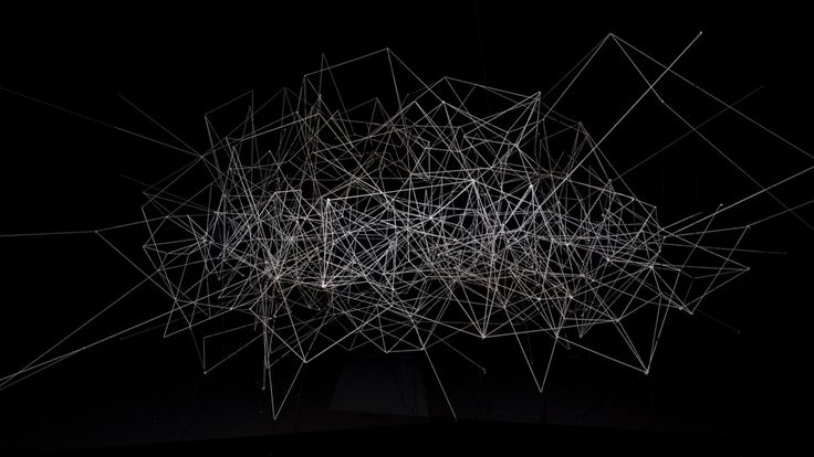 Line Segments Space at Scopitone Festival, Nantes France  Kimchi and Chips, 2014 Projection, Nylon string, Code Dark space 7m(W) x 4m(H) x 10m(L)   CONCEPT An…