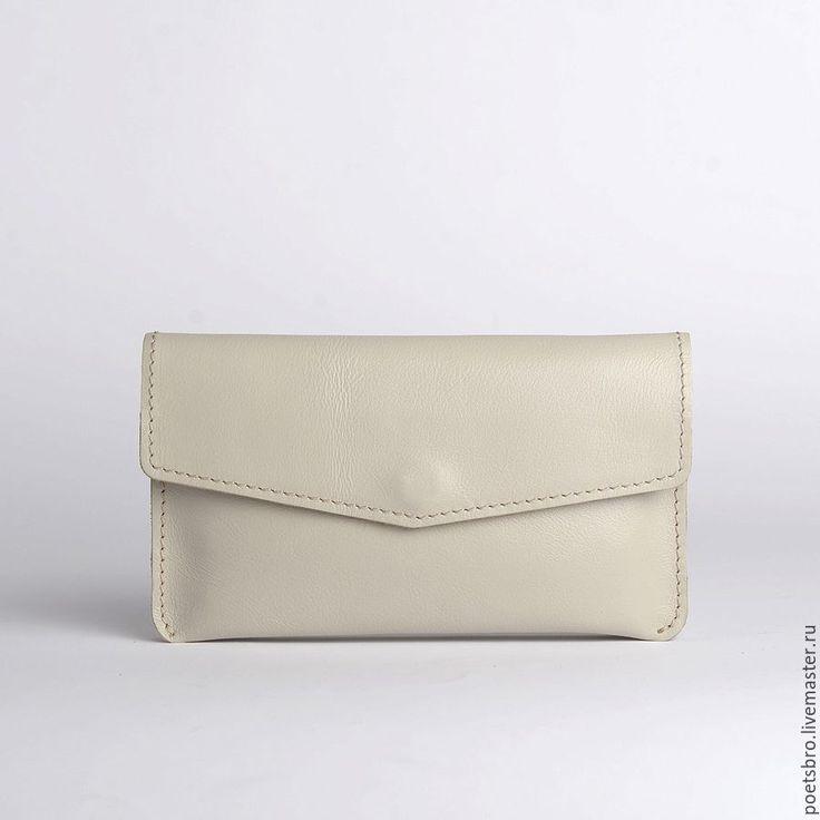 Купить Кошелек Rowena Beige - белый, клатч, клатч ручной работы, клатч из натуральной кожи