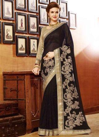 Blooming Black georgette net thread work designer half n half sarees   http://www.angelnx.com/Sarees
