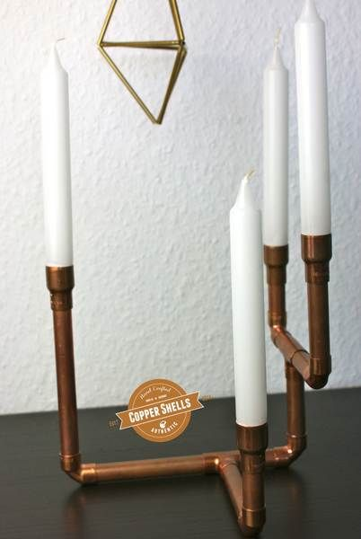 """Kupfer Kerzenständer -Adventskranz """"Industrial2"""" von coppershells auf DaWanda.com"""