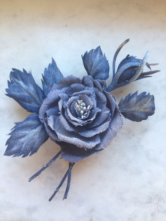 Denim rose brooch. Leaves painted by hands. Mobile base leaves.