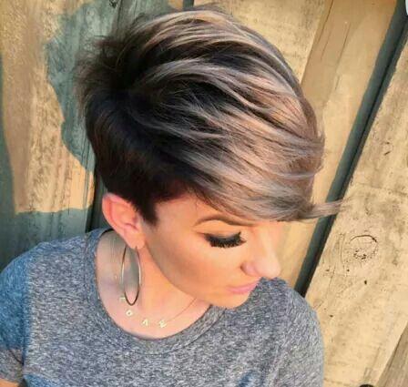 Dark shadow root and blonde tip pixie cut