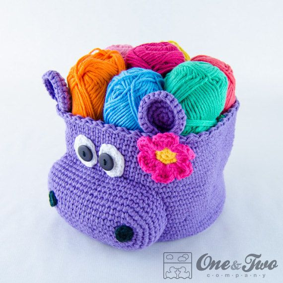 Hippo Crochet Basket PDF Crochet Pattern by oneandtwocompany