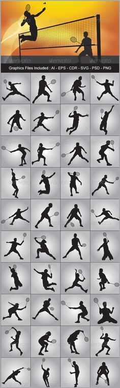 Badminton Silhouettes - Sports/Activity Conceptual