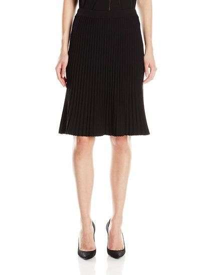Anne Klein Women's Sweater Swing Skirt | Skirts-------- Color:  Black------- 65% Rayon, 35% Nylon-------- Below the knee---------- Elastic waistband---------- Casual,Elegant Skirt for Casual and Work Wear---------- Spring/Summer 2016 ----------