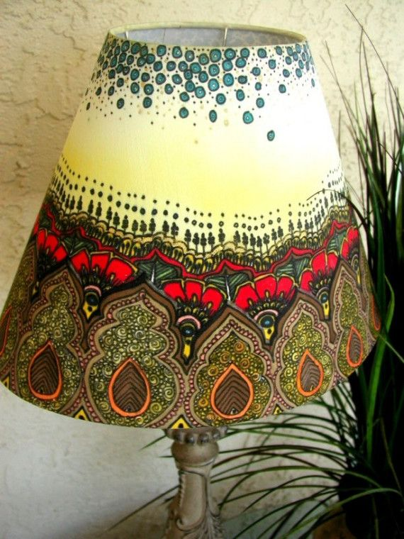 42 best Painted Lampshades images on Pinterest