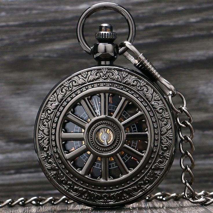 12.30$  Buy now - http://alikvw.shopchina.info/go.php?t=32639285778 - Vintage Silver/Black Roman Number Mechanical Pocket Watch Men Women Clock Hours Free Shipping P871-2C  #aliexpresschina