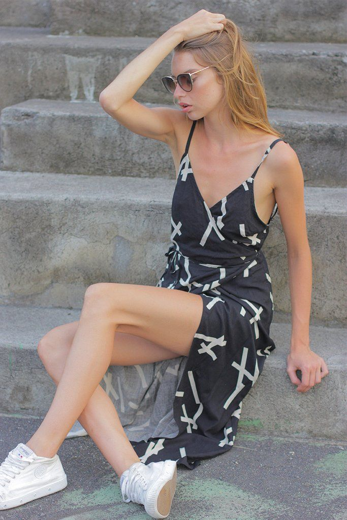 PICK UP STIX WRAP DRESS - BLACK RRP $279