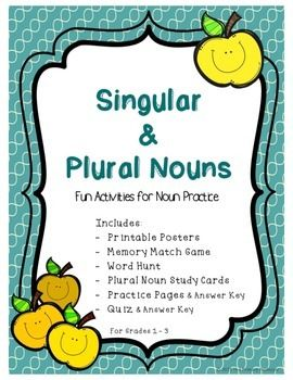 A complete unit for Plural and Singular Nouns. Help students learn the 8 rules for turning a singular noun into a plural noun.Contains posters, game cards, group and independent activities as well as an assessment.  Answer keys also included! Product Includes: - 2 Printable Posters: one for Plural Nouns and one for Singular Nouns - 24 Memory Match Game Cards (12 pairs)- Word Hunt (finding singular and plural words around the room and/or in books) - 8 Plural Noun Rules Study Cards (one side…
