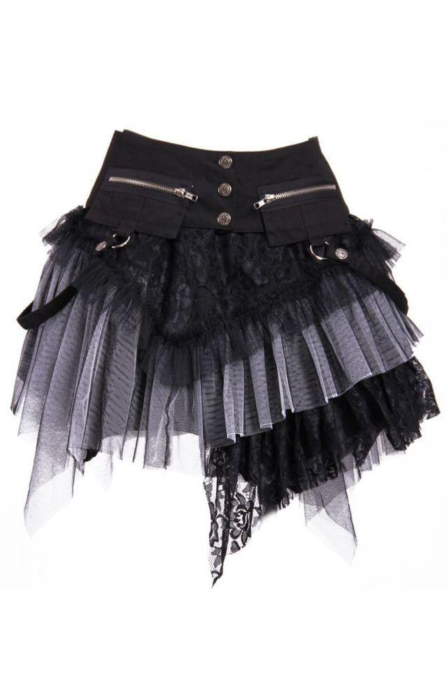 Gothic Steampunk ROCK Schwarz/Grau Petticoat Skirt Einheitsgröße RQ-BL