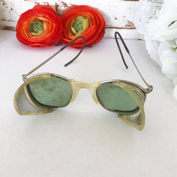 Antique motorcycle Goggles Glasses car bike auto Vintage green tinted glass safety eyeglasses mesh welding rustic primitive man cave by WonderCabinetArts