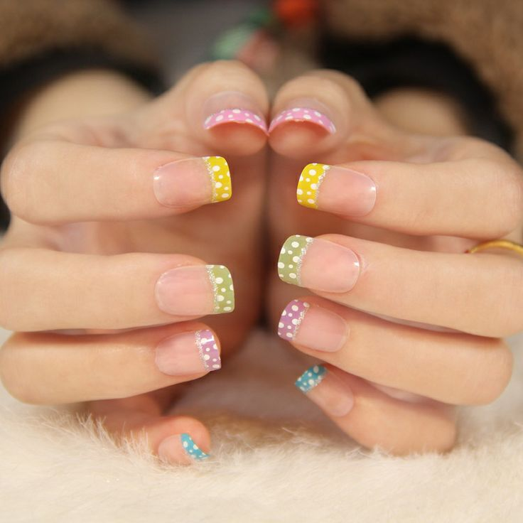 New 2013 colored dot French short design clear fake nails,free shipping $6.98