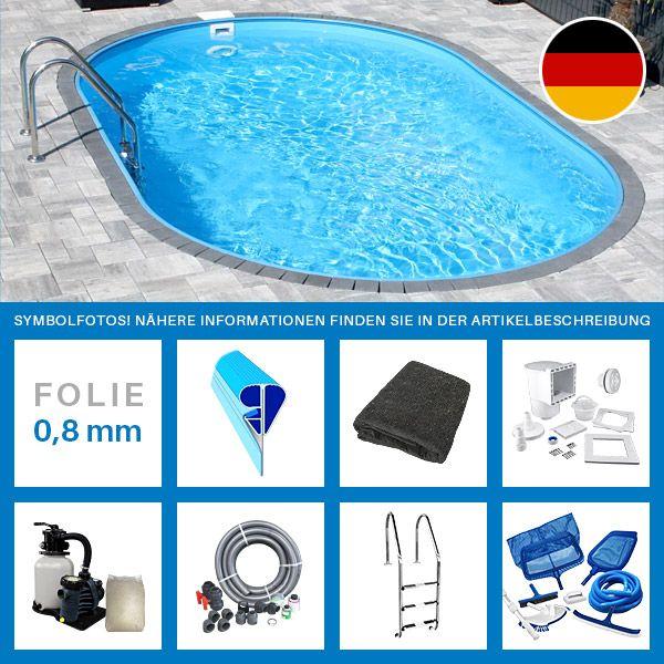 Ovalpool-Set PROFI 6,00 x 3,20 x 1,50 m Folie 0,8 mm Kurzübersicht Lieferumfang: Feuerverzinkte Stahlwand 0,7-0,8 mm   Made   in   Germany Blaue PVC-Poolfolie 0,8 mm   Made   in   Germany...