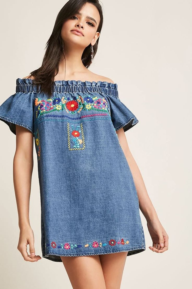 Product Name:Floral Embroidered Denim Dress, Category:dress, Price:48