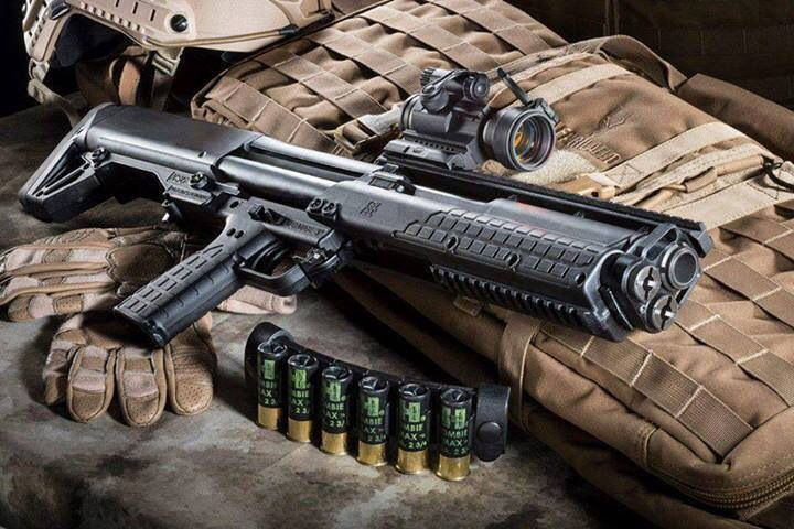 Keltec shotgun - the ultimate home defense shotgun. You can even switch between non lethal and lethal ammo in a second.