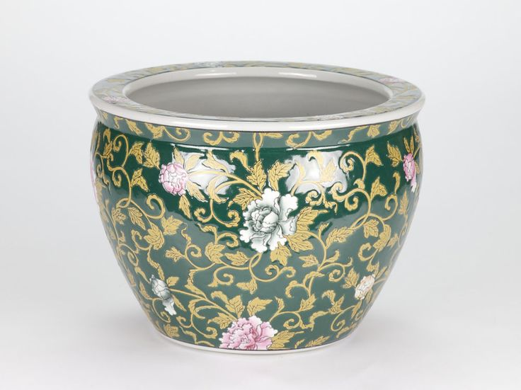 "Antique style Oriental Chinese Ornate Pot Planter Floral Hand painted  26cm/10"" #Oriental #porcelain #chinoisforliving #chinois #chinoserie"