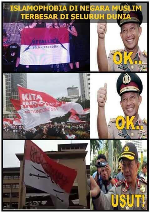 Polisi Terapkan Standar Ganda dalam Kasus Bendera Merah Putih Bertulisan  AntiLiberalNews  Saat ini masyarakat tengah ramai memperbincangkan dugaan penghinaan lambang negara. Hal ini mencuat setelah kepolisian menangkap salah seorang pria berinisial NF (20 tahun) yang kedapatan membawa bendera merah putih bertuliskan Arab saat mengikuti Aksi Bela Ulama di Mabes Polri pada Senin (16/1).  Padahal NF bukanlah orang pertama yang membawa bendera merah putih disertai tulisan lain. Namun entah…