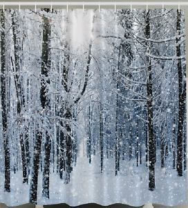 Snow Flake Forest Tree Bath Shower Curtain White Winter Holiday Christmas Fabric – Winter