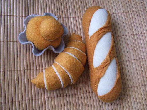 Felt Bread 3 kinds - French Baguette, Croissant, Brioche