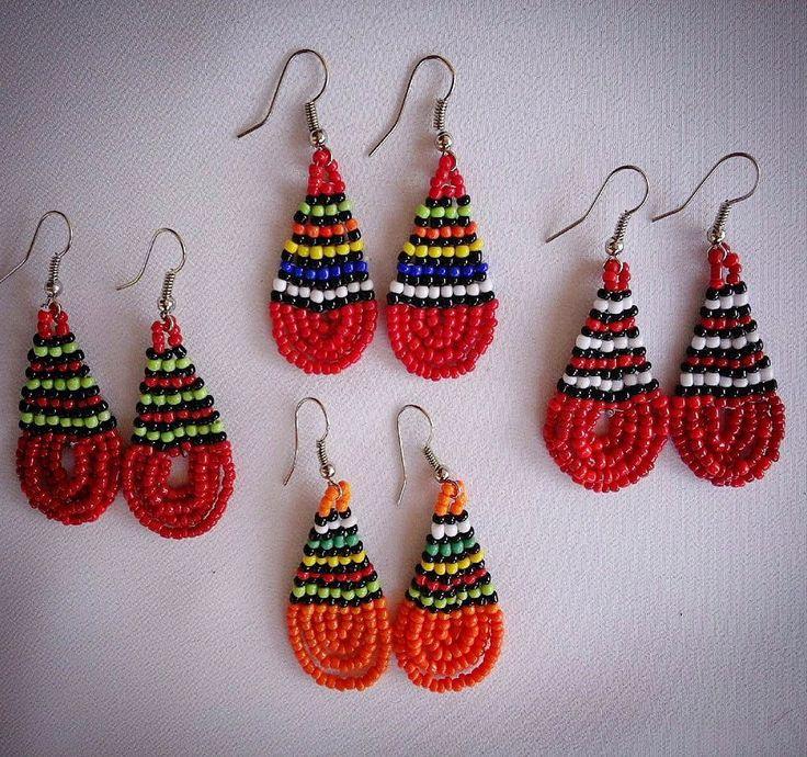 Red beaded African earrings