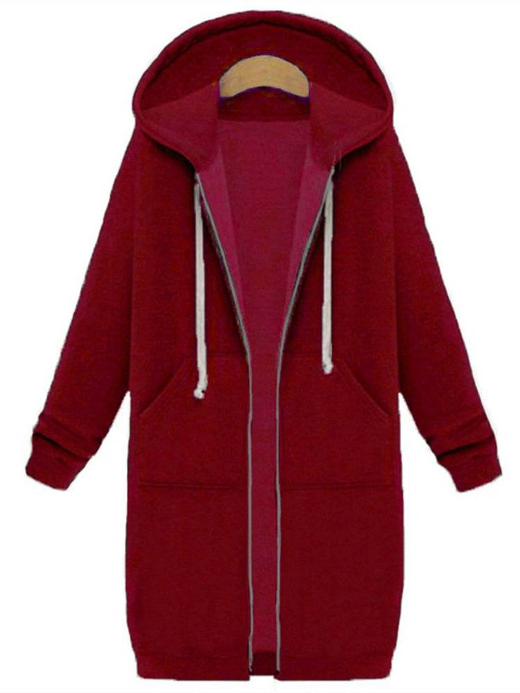 casual comfy women long sleeve zipper hooded pocket coats