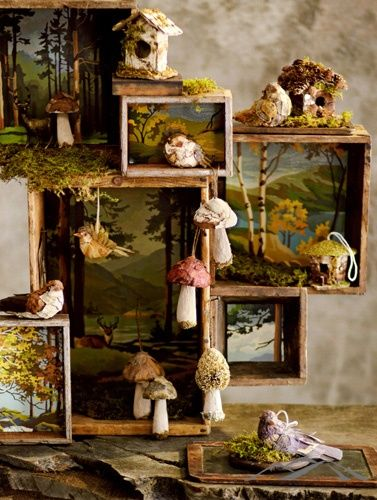 a shadow box forest (I like the grouping of boxes + paint by numbers + mushroom ornaments (?))