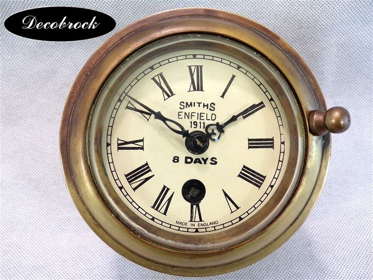 Pendule horloge marine murale vintage en laiton 8 days avec sa clé Smith Enfield made in England déco retro vintage industriel de la boutique decobrock sur Etsy