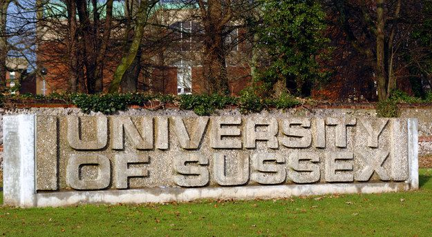 Everyone had at least one drunken group photo in front of this concrete sign. | 30 Things Everyone Who Went To University Of Sussex Will Remember