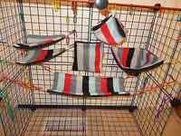 FLEECE/Fleece STRIPES Sugar Glider 6 Piece Cage Set