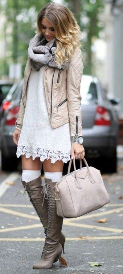 #winter #fashion // White Lace Dress // Cream Leather Jacket // Grey Scarf // Laced Up Leather Over The Knee Boots // Light Pink Tote Bag