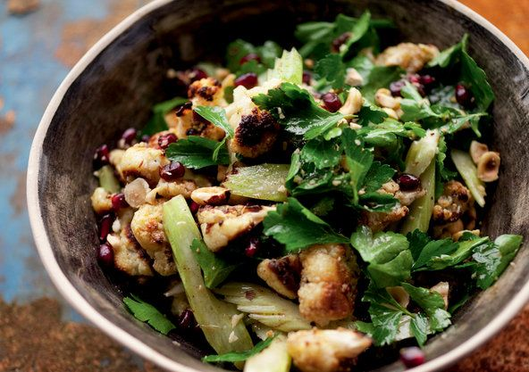 Roasted Cauliflower, Hazelnut and Pomegranate Seed Salad