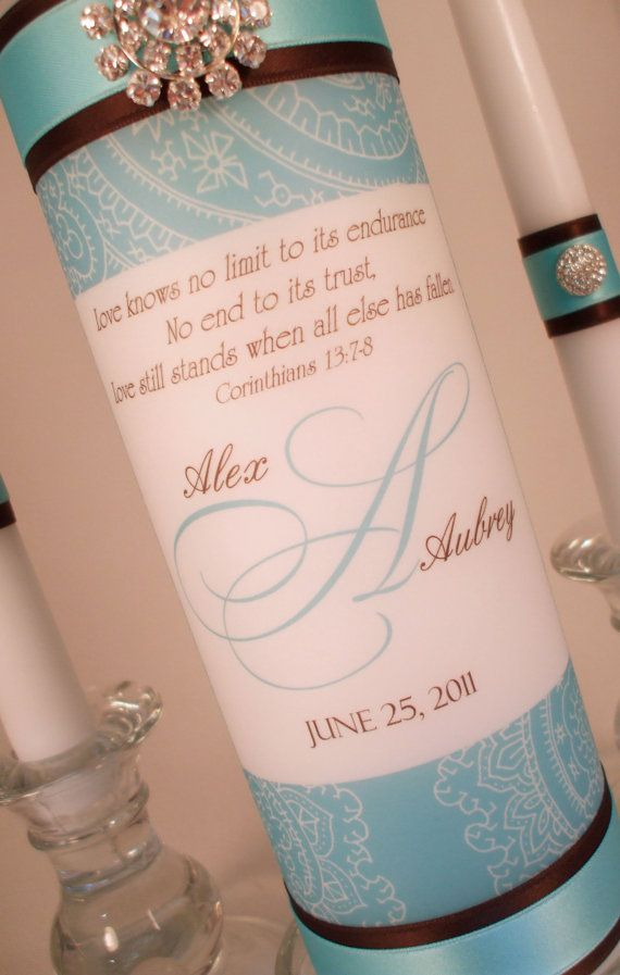 Paisley Monogram Unity Candles with Jewels  ANY by LanColeStudios, $32.00