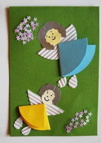 tarjeta navidea con motivos de angelitos