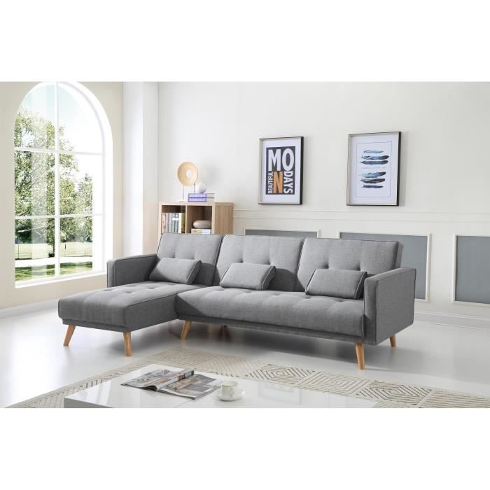 Scandinave Canape D Angle Reversible Convertible 267x151x88cm Gris Clair Canape Angle Canape Convertible Scandinave Canape Convertible