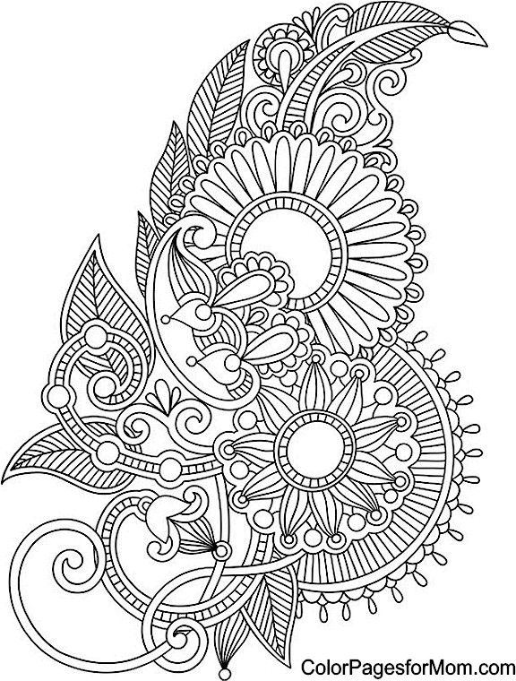 coloring pages mandala adult flowers paisley design